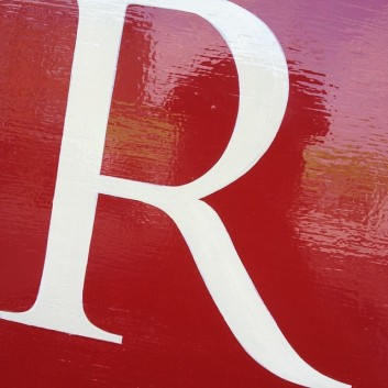 Lettering detail R Original Features Hornsey London NGS signwriters